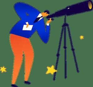 toughjobs clip art man telescope blue